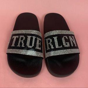 True Religion Rhinestone Slides